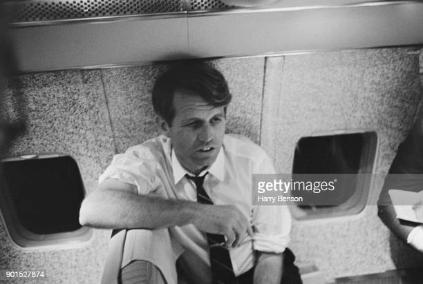 American politician and lawyer Robert Kennedy on an airplane during his presidential election tour US 1968