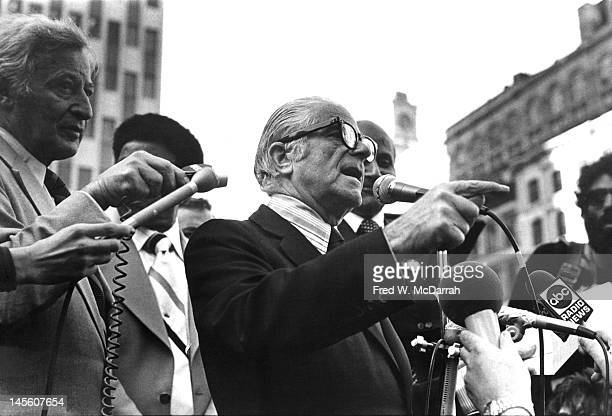 American politician and Mayor of New York City Abraham Beame speaks to journalist at an outdoor press conference New York New York November 11 1975