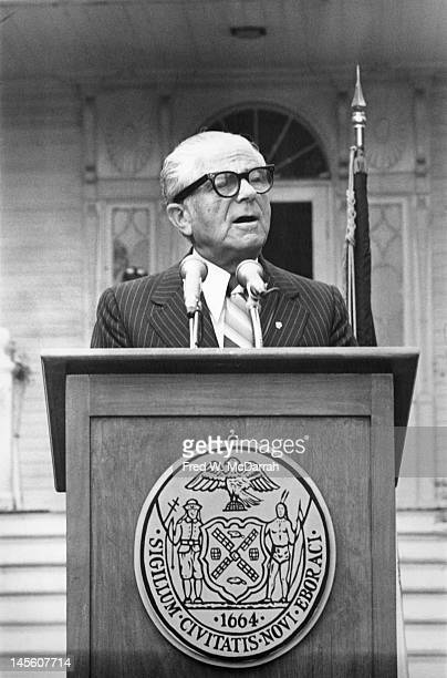 American politician and Mayor of New York City Abraham Beame speaks at a press conference on the steps of Gracie Mansion New York New York May 18 1977