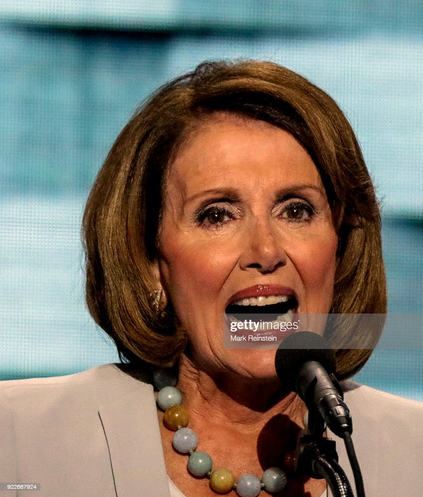 American politician and Minority Leader of the US House of Representatives, Congresswoman Nancy Pelosi speaks on stage on the final day of the Democratic National Convention at the Wells Fargo Center, Philadelphia, Pennsylvania, July 28, 2016.