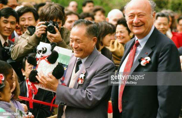 American politician and New York Mayor Ed Koch smiles at the camera while at the Bronx Zoo to welcome two Giant Pandas New York New York April 20...