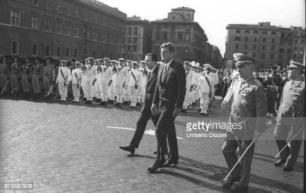 American politician and president of the United States John Kennedy with Italian politician and Minister of Defense Giulio Andreotti in Piazza...