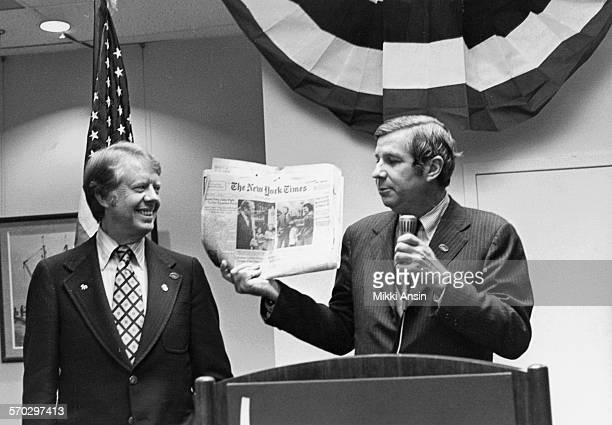 American politician and Presidential candidate Jimmy Carter campaigns with Congressman Fred B Rooney The little girl with Ford in the newspaper photo...