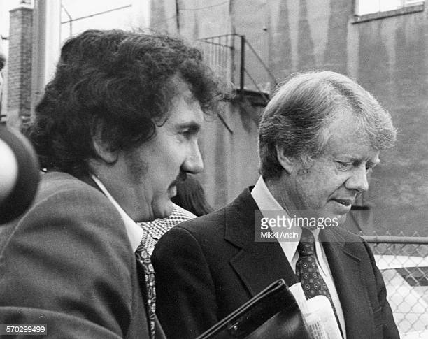 American politician and Presidential candidate Jimmy Carter campaigns with Tim Kraft Boston Massachusetts 1976 Kraft had just been brought in from...