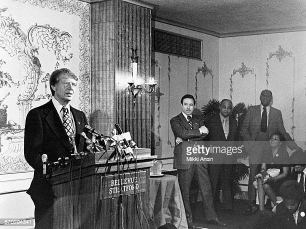 American politician and Presidential candidate Jimmy Carter speaks to potential supporters at the Bellevue Stratford in Philadelphia Pennsylvania 1976