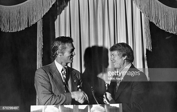 American politician and Presidential candidate Jimmy Carter speaks to former Massachusetts Governor Endicott 'Chub' Peabody in Boston Massachusetts...
