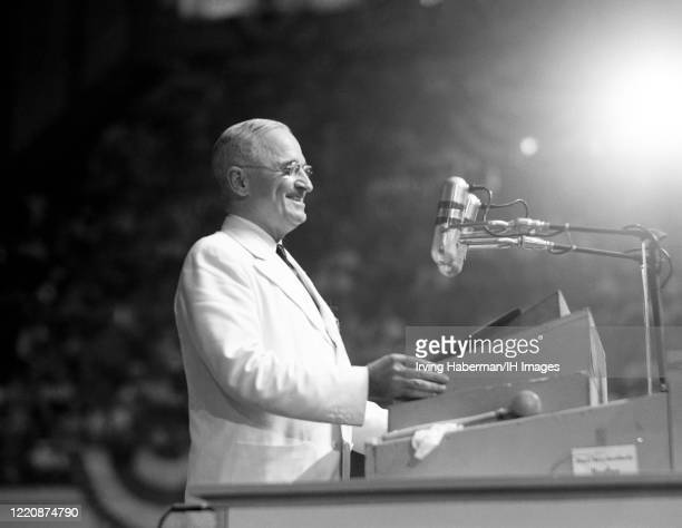 American politician and United States President Harry S. Truman speaks from the dais at the Convention Hall during the Democratic National Convention...