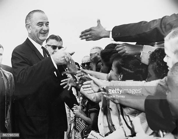 American politician and US President Lyndon B Johnson greets supporters during a unspecified rally Wilmington Delaware 1964