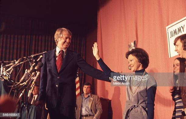 American politician and US Presidential candidate Jimmy Carter and his wife Rosalynn Carter celebrate victory in the New Hampshire Democratic Primary...