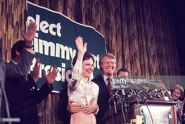 American politician and US Presidential candidate Jimmy Carter and his wife, Rosalynn Carter, smile after his victory in the Pennsylvania Primary...