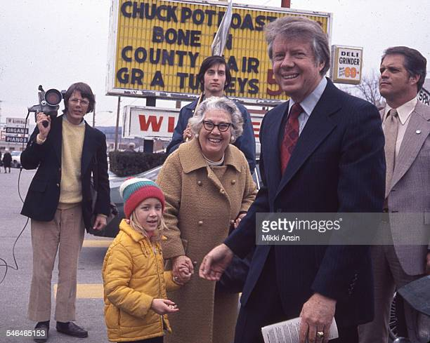 American politician and US Presidential candidate Jimmy Carter greets supporters during a campaign event Worcester Massachusetts 1976