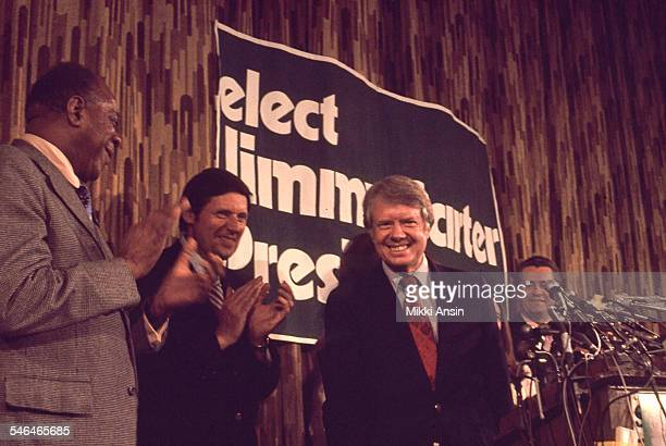 American politician and US Presidential candidate Jimmy Carter smiles after his victory in the Pennsylvania Primary election Philadelphia...