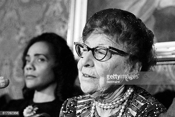 Former Congresswoman Jeannette Rankin who voted against entry in World Wars I and II is shown at a press conference on December 14 1967