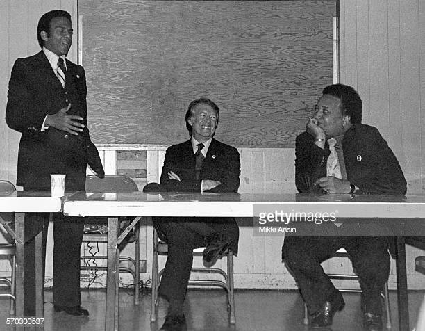 American politician Andrew Young campaigns for American politician and Presidential candidate Jimmy Carter in Boston Massachusetts 1976