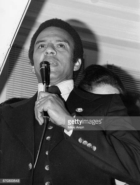 American politician Andrew Young campaings for American politician and Presidential candidate Jimmy Carter in Boston Massachusetts 1976