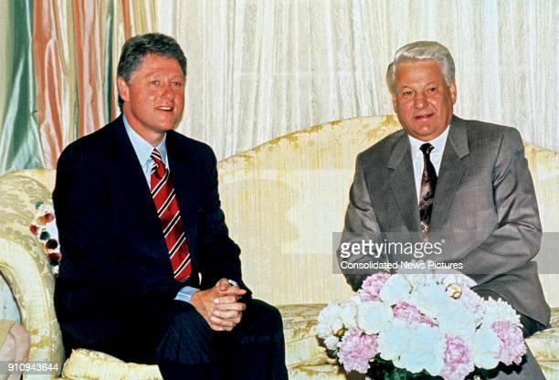 American politician Arkansas Governor Bill Clinton meets Russian Federation President Boris Yeltsin at Blair House Washington DC June 18 1992