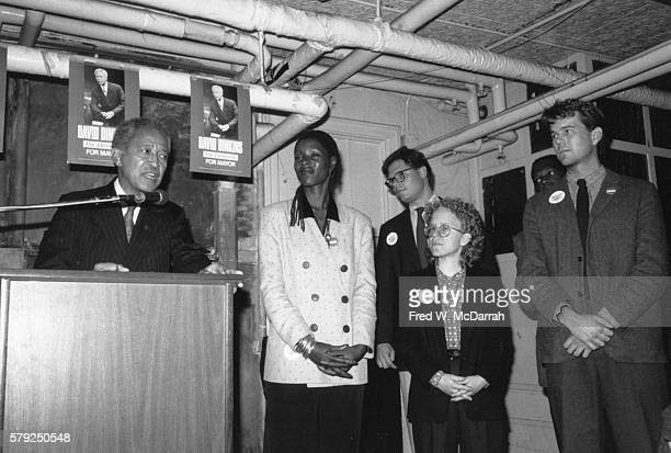 American politician David Dinkins speaks at the Gay and Lesbian Center during his mayoral campaign New York New York November 2 1989 Among those with...