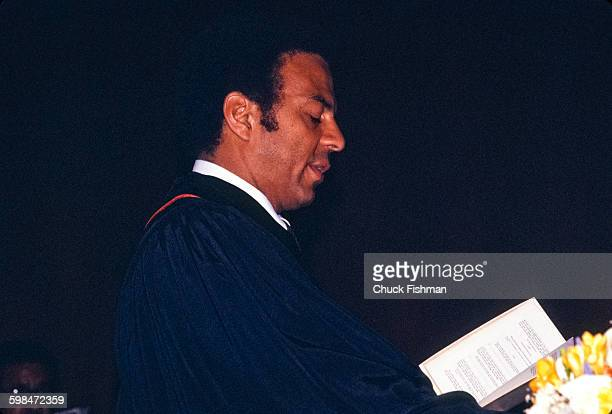American politician diplomat and United States Ambassador to the United Nations Andrew Young officiates a wedding in the UN chapel New York New York...