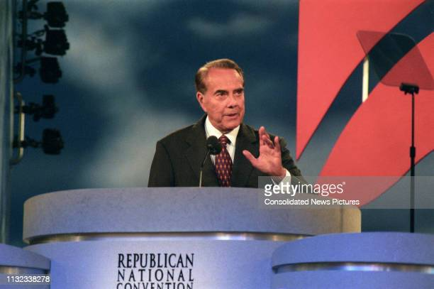 American politician former US Senator Bob Dole delivers his acceptance speech on the final day of the Republican National Convention at the San Diego...