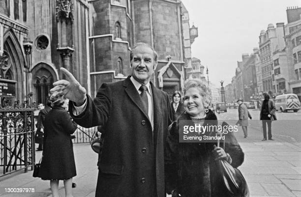 American politician George McGovern , the United States Senator from South Dakota, with his wife Eleanor outside the Royal Courts of Justice in...