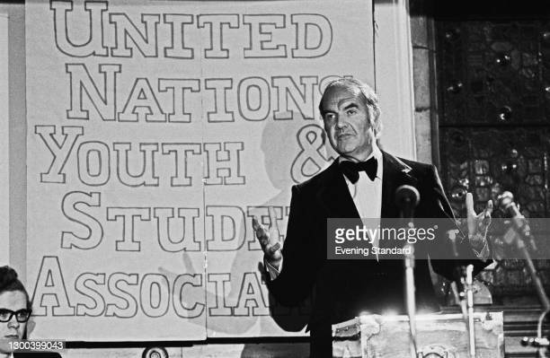 American politician George McGovern , the United States Senator from South Dakota, addresses the United Nations Youth and Student Association , UK,...