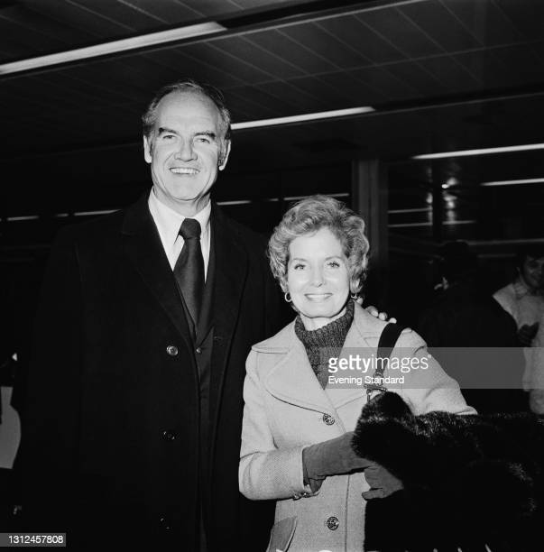 American politician George McGovern , the United States Senator from South Dakota, with his wife Eleanor at Heathrow Airport in London, UK, 20th...
