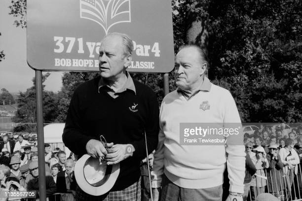 American politician Gerald Ford and American comedian, actor and performer Bob Hope at the Bob Hope British Classic, Hertfordshire, UK, 22nd...