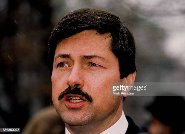 American politician Governor of Iowa Terry Branstad talks with the press on the White House's north lawn Washington DC February 24 1986 He was at the...
