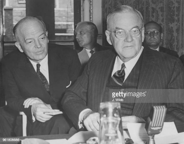 American politician Harold Stassen and US Secretary of State John Foster Dulles during the London Disarmament Conference at Lancaster House in London...