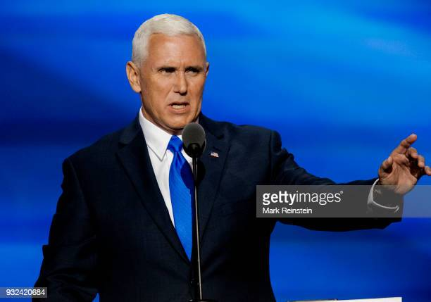American politician Indiana Governor and vicepresidential candidate Mike Pence speaks from the podium during the Republican National Convention at...