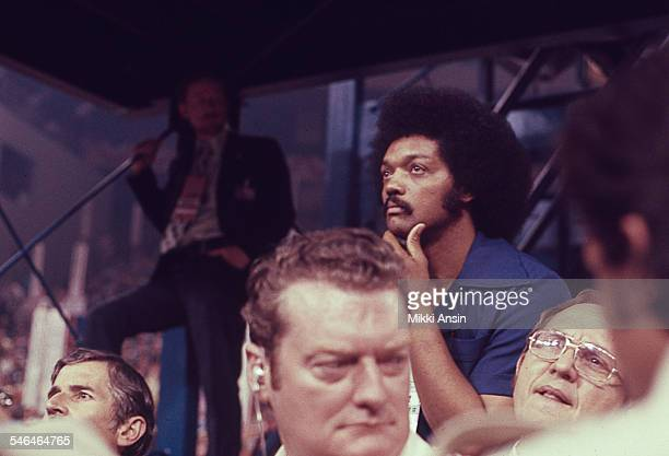 American politician Jesse Jackson listens to a speaker during the Democratic National Convention at Madison Square Garden New York New York July 13...