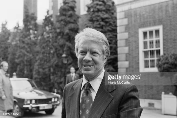 American politician Jimmy Carter, 39th president of the United States, arrives at Winfield House for his stay during the Economic Summit, London, UK,...