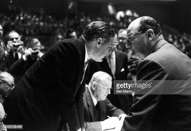 American politician John Foster Dulles , Secretary of State in Eisenhower administration, in a United Nations Session, New York City, US, November 1,...