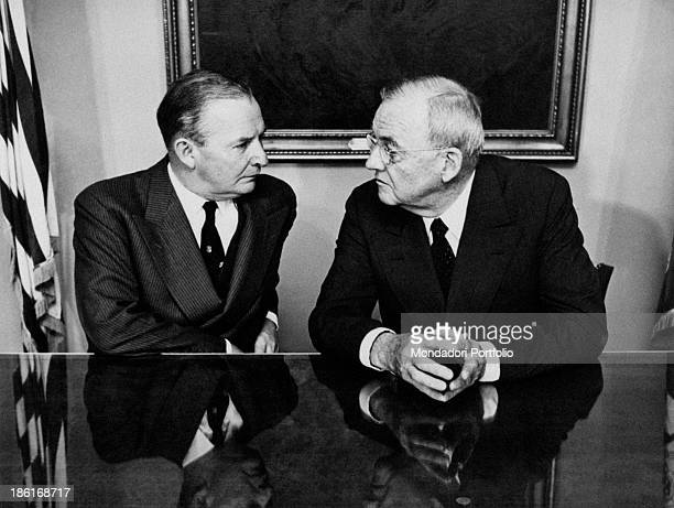 American politician John Foster Dulles Secretary of State of the United States talking with British politician Selwyn Lloyd Foreign Secretary of the...