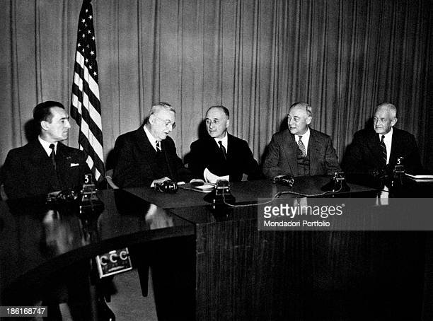 American politician John Foster Dulles, Secretary of State of the United States, Italian politician and engineer Enzo Giacchero, representative of...
