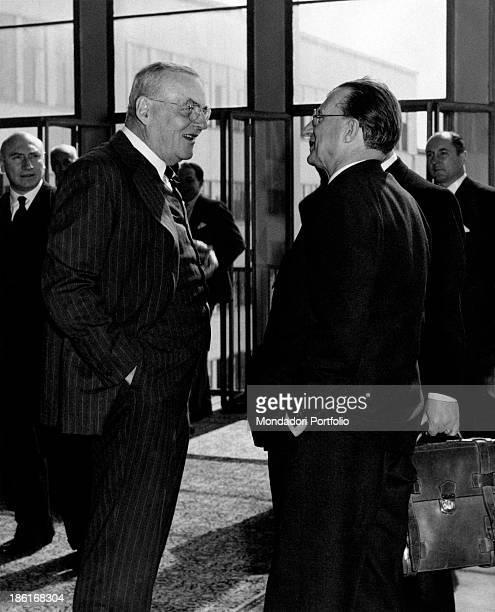 American politician John Foster Dulles talking with Italian politician Alcide De Gasperi Paris 1953