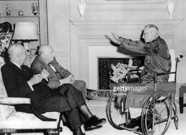 American politician John Foster Dulles , with Sir Winston Churchill , and President Dwight D Eisenhower , just days before he died.