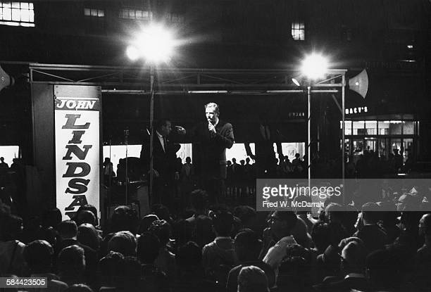 American politician John V Lindsay campaigns for Mayor of New York City during an outdoor rally New York New York August 26 1965