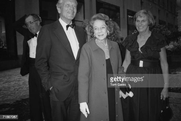 American politician John Vliet Lindsay stands with socialite Brooke Astor and his wife Mary at the opening of three new restaurants at Rockefeller...