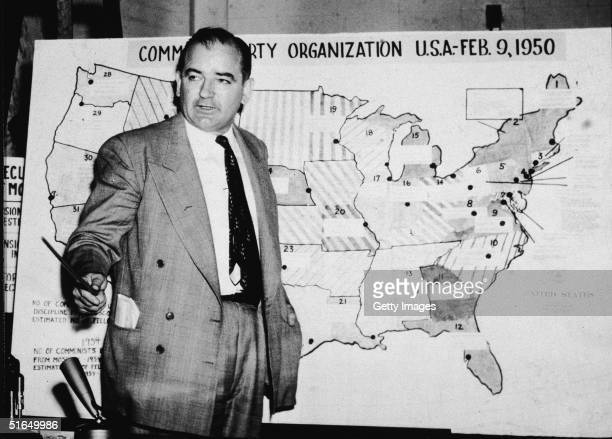 American politician Joseph McCarthy , Republican senator from Wisconsin, testifies against the US Army during the Army-McCarthy hearings, Washington,...