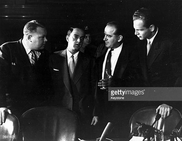 American politician Joseph Raymond McCarthy with David Shine, Roy Cohn and Frank Carr. McCarthy led a campaign against supposed Communist subversion...