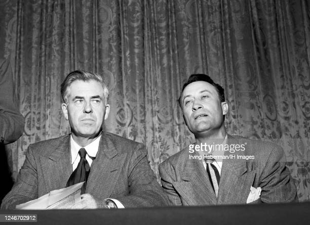American politician, journalist, farmer and former Vice President Henry A. Wallace , sits with his running mate American politician, entertainer,...