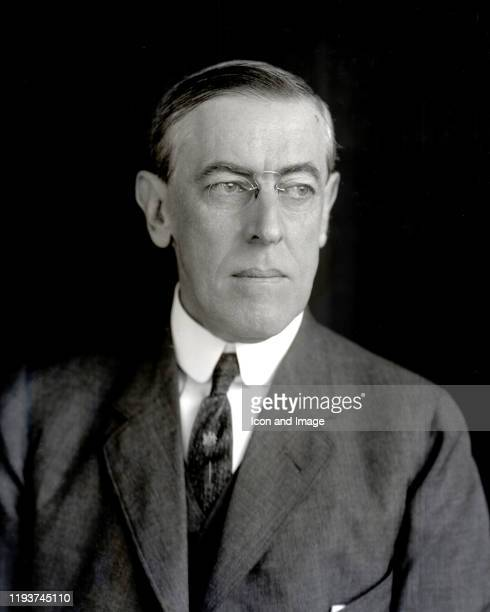 American politician, lawyer and academic who served as the 28th president of the United States, Woodrow Wilson, sits for a portrait at the Pach...