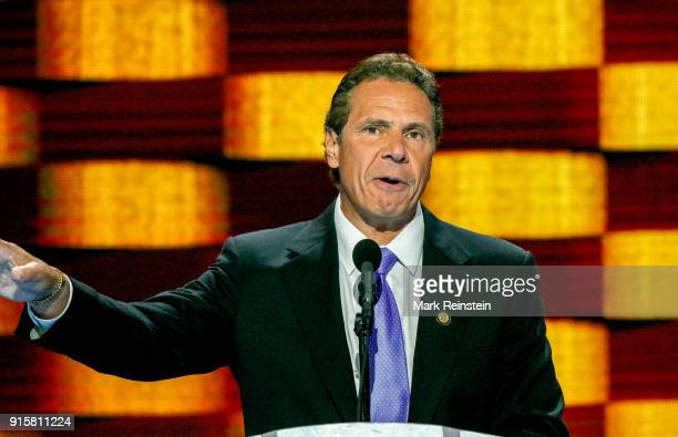 American politician New York Governor Andrew Cuomo addresses the Democratic National Convention at the Wells Fargo Arena Philadelphia Pennsylvania...