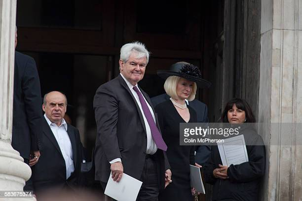 American politician Newt Gingrich departing St Paul's following the funeral service for Margaret Thatcher The funeral of Baroness Thatcher of...