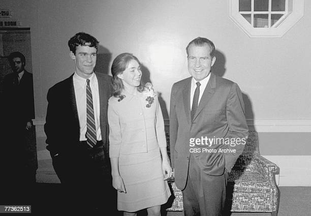 American politician Richard Milhous Nixon shares a laugh with his daughter Julie and her fiance, David Eisenhower , during his presidential campaign,...