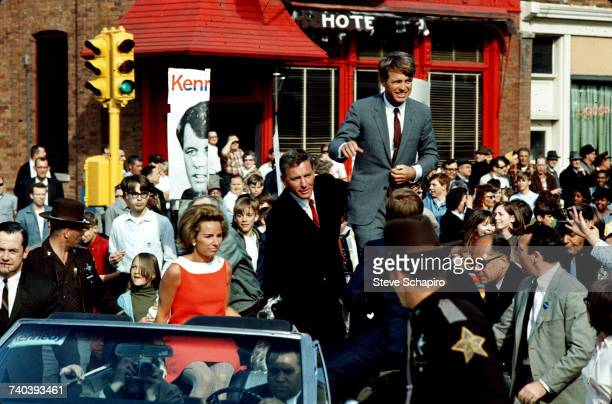American politician Robert F Kennedy campaigning for the presidency Indiana 1968 On the left is his wife Ethel