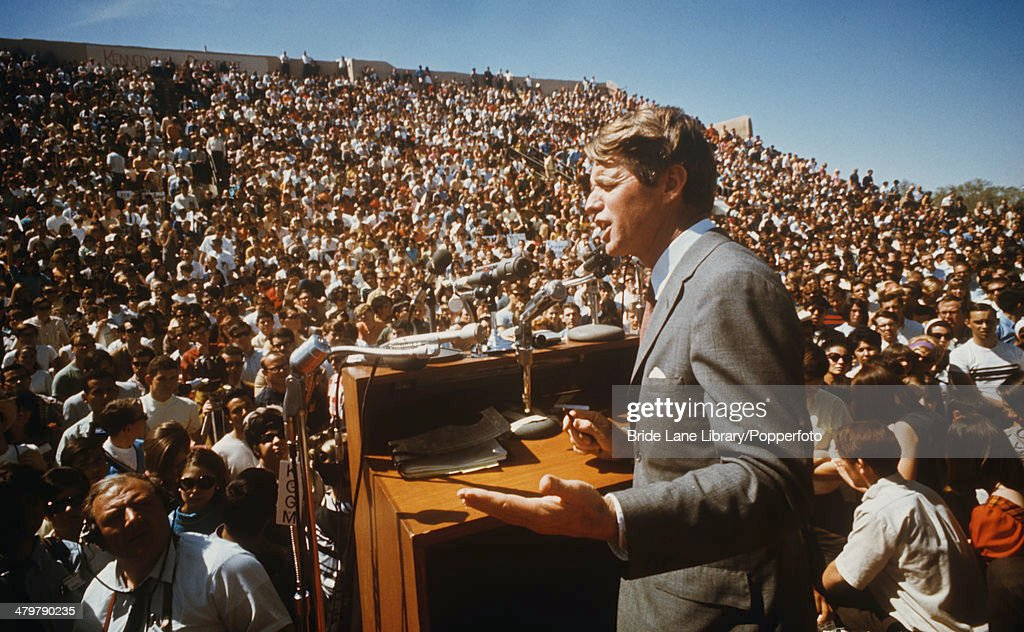 American politician Robert F. Kennedy (1925 - 1968) delivers a speech, USA, circa 1968.