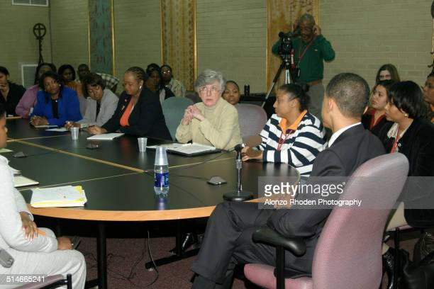 American politician Senator Barack Obama meets with students and staff at Malcolm X College Chicago Illinois April 4 2005
