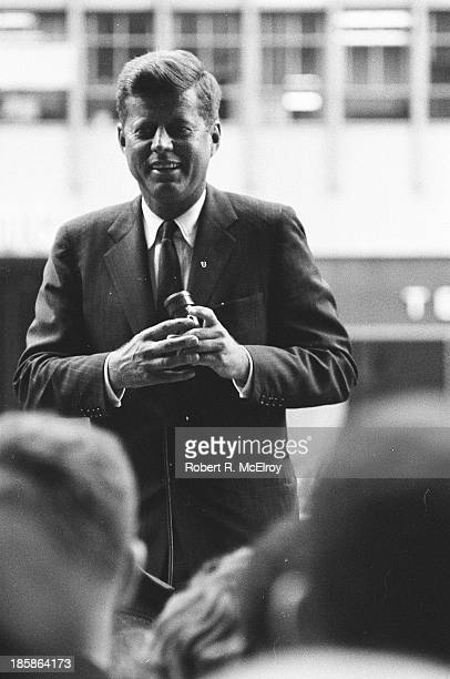 American politician Senator John F Kennedy delivers a campaign speech New York New York mid to late 1960 This was JFK's first trip to New York since...